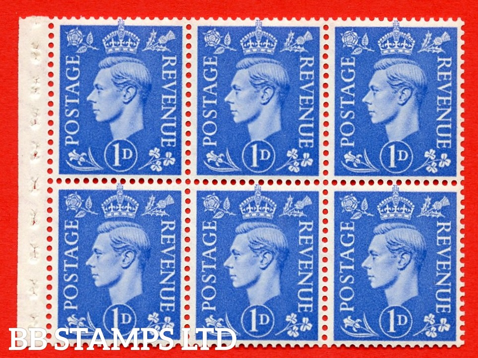 """SG. 504f. QB15. 1d ultramarine. Type 1c. A fine UNMOUNTED MINT complete booklet pane of 6. Perf type """" I """". Trimmed Perfs."""