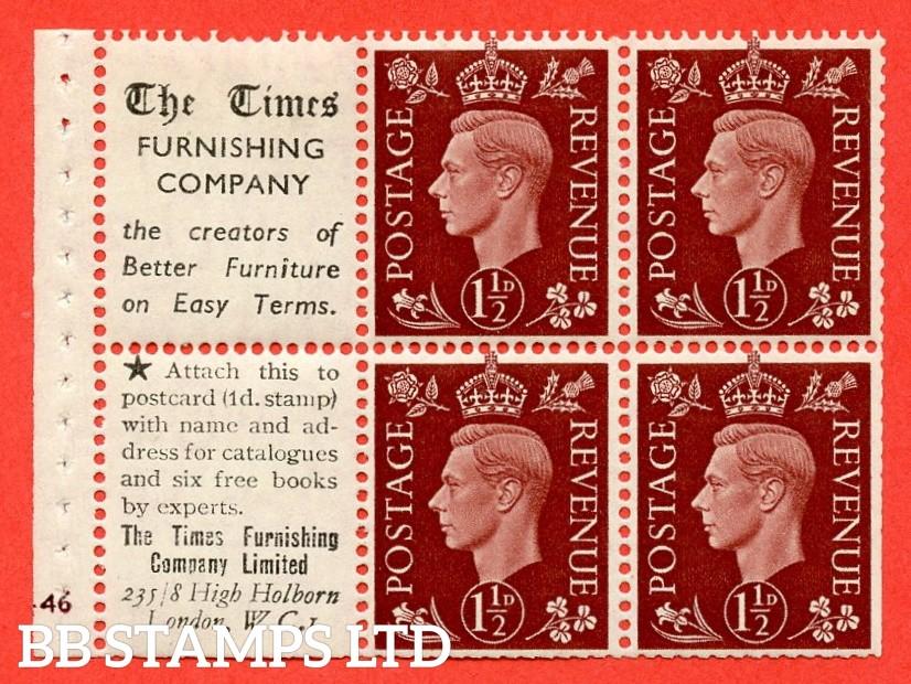 "QB23 Perf Type B3(I) (16) 1½d Red-Brown x 6 Pane, UNMOUNTED MINT. Cylinder Pane G46 no dot ( SG. 464b ) Perf type B3(I). "" Times Furnishing Company / London, W.C.1 ""  Trimmed Perfs."