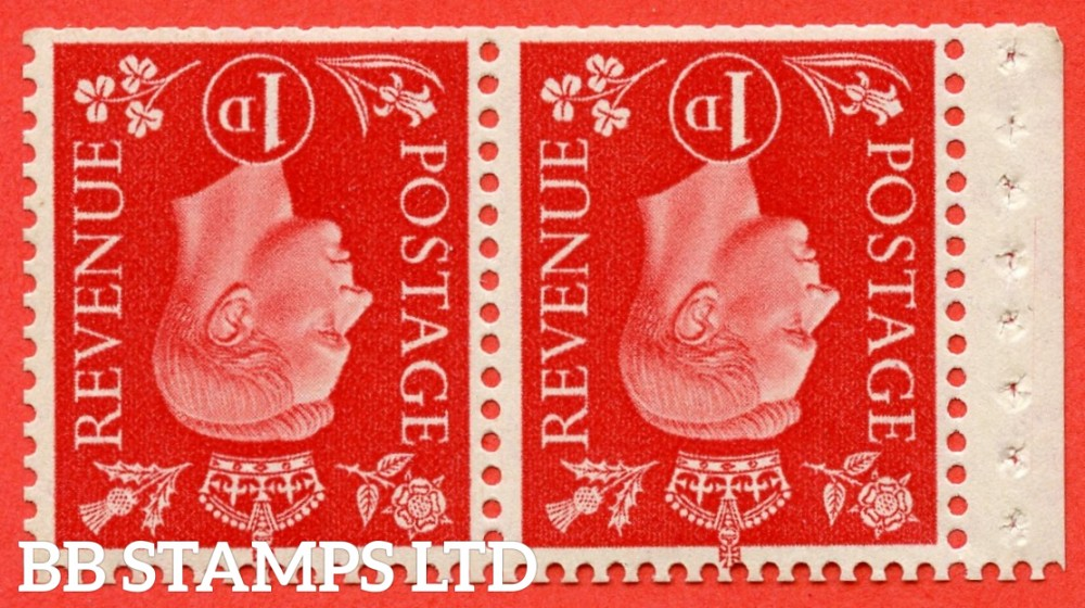 SG. 463 cw. QB12 a. 1d Scarlet. INVERTED WATERMARK. A fine UNMOUNTED MINT booklet pane of 2. Perf type E. Complete with RPS certificate.