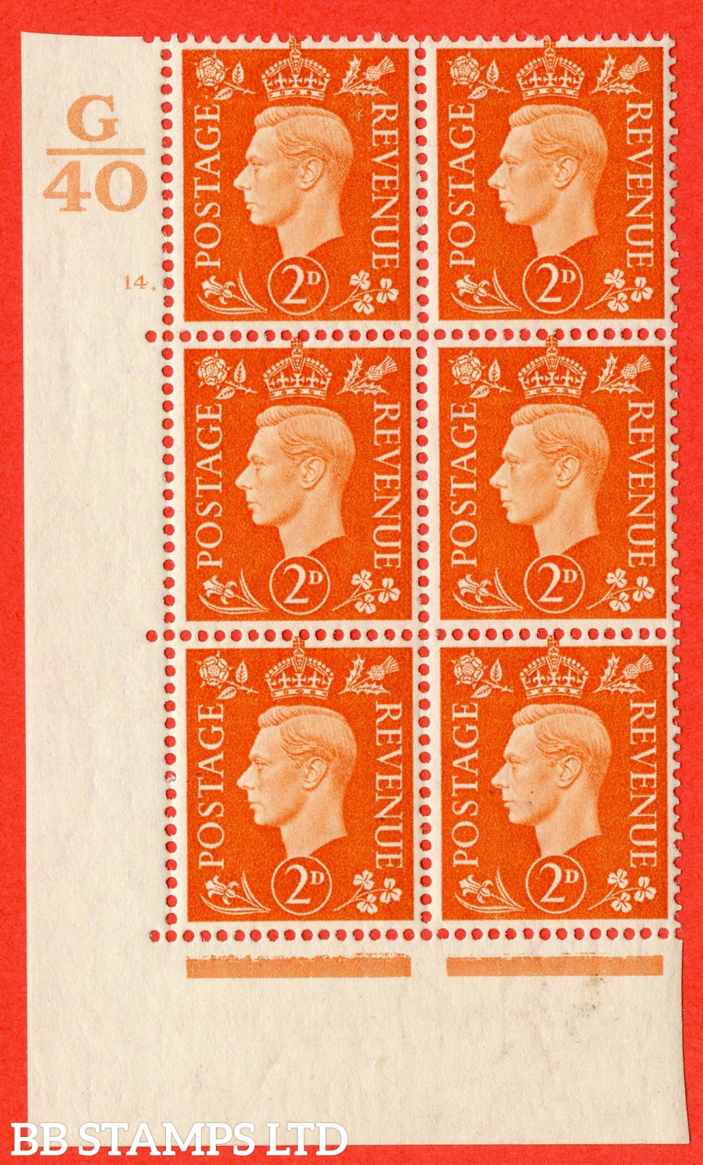 "SG. 465. Q10. 2d Orange. A superb UNMOUNTED MINT "" Control G40 cylinder 14 dot "" control block of 6 with perf type 5 E/I."