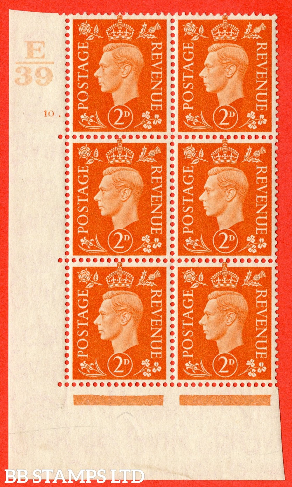 "SG. 465. Q10. 2d Orange. A superb UNMOUNTED MINT"" Control E39 cylinder 10 dot "" control block of 6 with perf type 5 E/I."