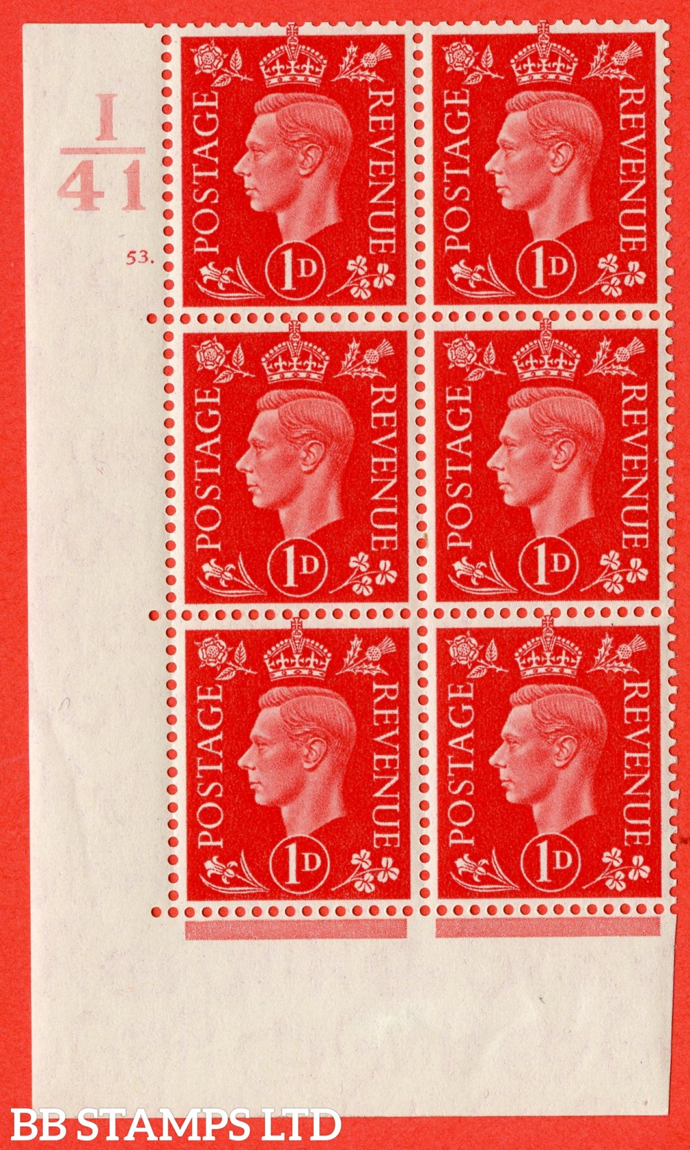"SG. 463. Q4. 1d Scarlet. A superb UNMOUNTED MINT "" Control I41 cylinder 53 dot "" block of 6 with perf type 5 E/I."