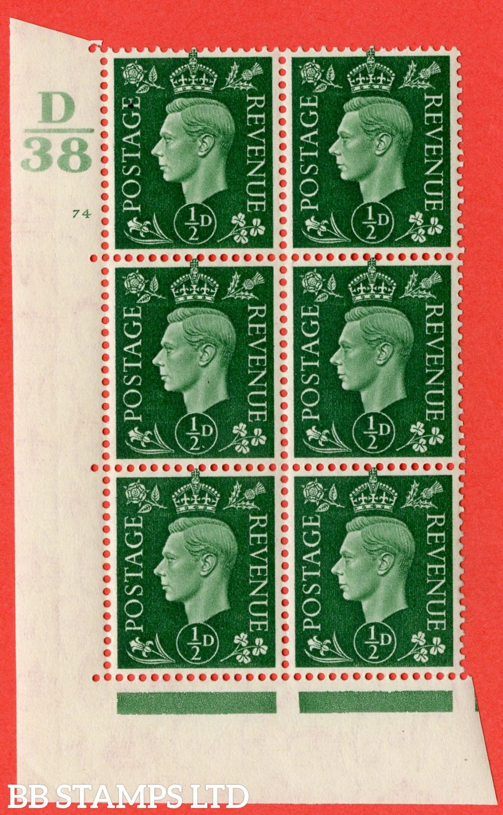 "SG. 462. Q1. ½d Green. A superb UNMOUNTED MINT "" Control D38 cylinder 74 no dot "" block of 6 with perf type 5 E/I."