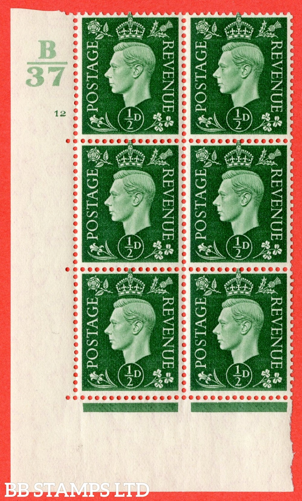 "SG. 462. Q1. ½d Green. A superb UNMOUNTED MINT "" Control B37 cylinder 12 no dot "" block of 6 with perf type 5 E/I."