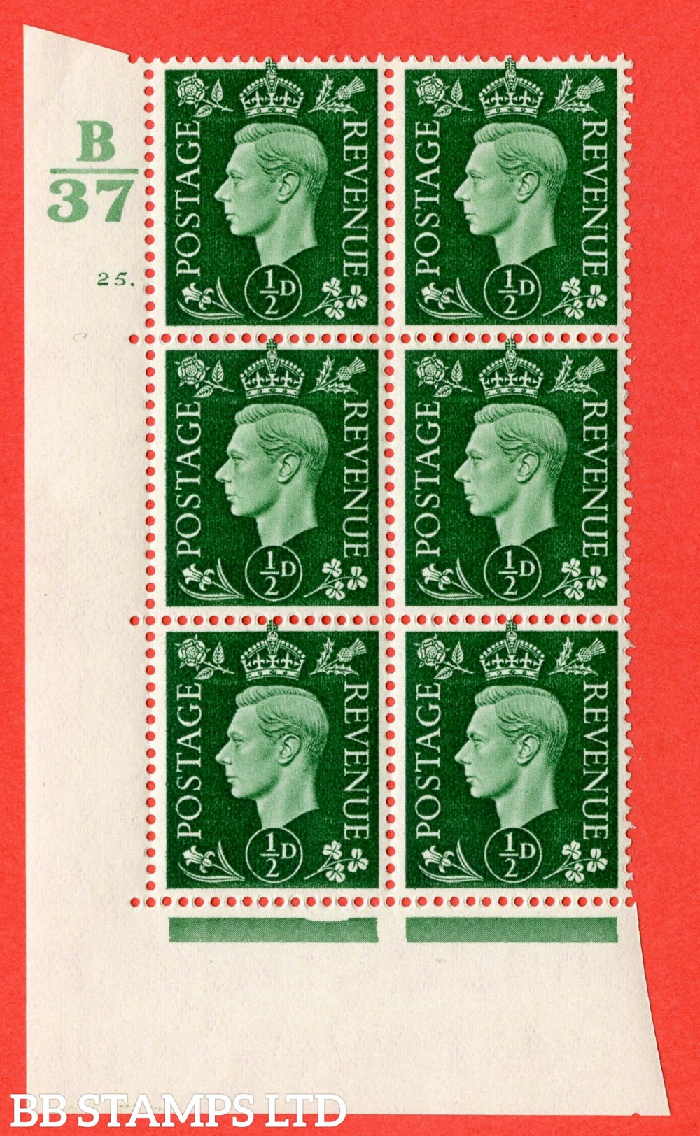 "SG. 462. Q1. ½d Green. A superb UNMOUNTED MINT "" Control B37 cylinder 25 dot "" block of 6 with perf type 5 E/I."