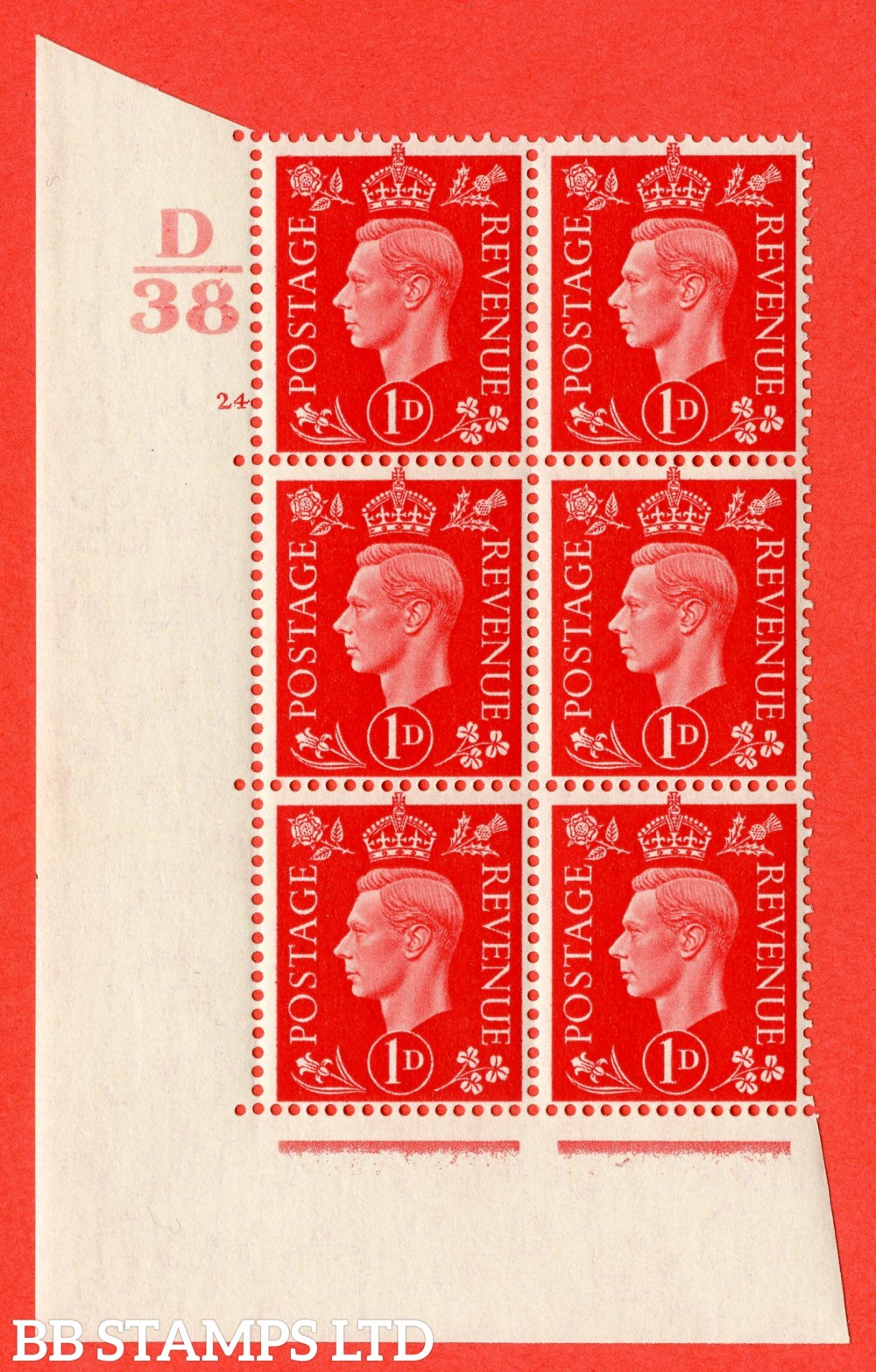 "SG. 463. Q4. 1d Scarlet. A fine lightly mounted mint "" Control D38 cylinder 24 no dot "" block of 6 with perf type 5 E/I."