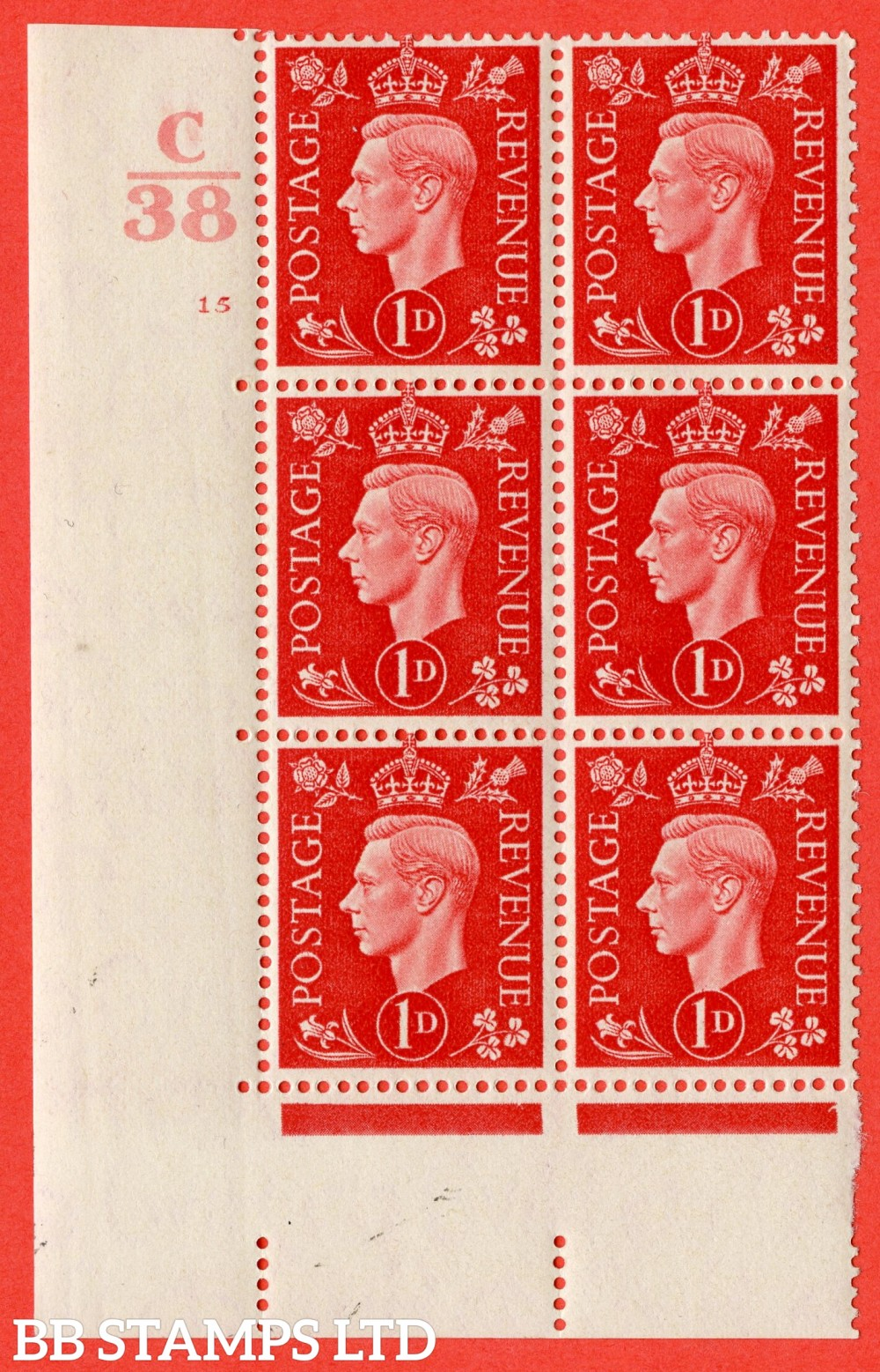 "SG. 463. Q4. 1d Scarlet. A fine lightly mounted mint "" Control C38 cylinder 15 no dot "" block of 6 with perf type 5 E/I."