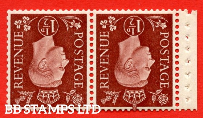"""SG. 464 dw. QB22 a. 1½d Red - Brown. INVERTED WATERMARK. A fine UNMOUNTED MINT complete booklet pane. Perf type """" P """". Good Perfs."""