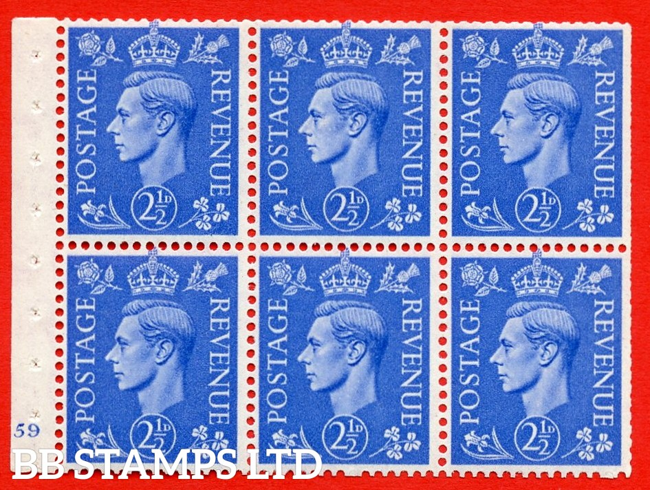 """SG. 489f. QB33. 2½d blue. A fine UNMOUNTED MINT complete Cylinder pane of 6 J59 No dot. Perf type """"B3(I)"""". Trimmed Perfs."""