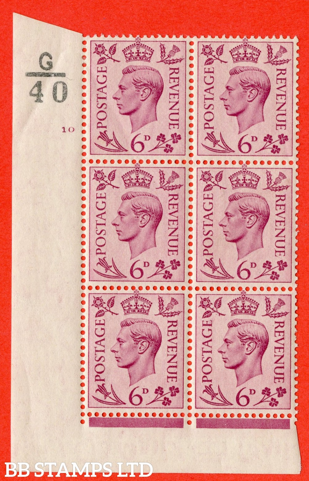 """SG. 470. Q22. 6d Purple. A fine lightly mounted mint """" Control G40 cylinder 10 no dot """" control block of 6 with perf type 2 E/I"""