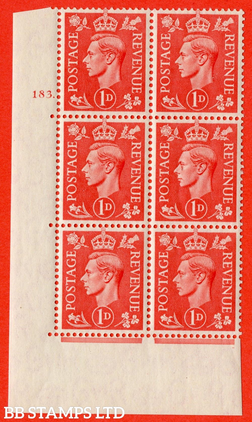 "SG. 486. Q5. 1d Pale scarlet. A superb UNMOUNTED MINT "" No Control   cylinder 183 dot "" control block of 6 with perf type 5 E/I."