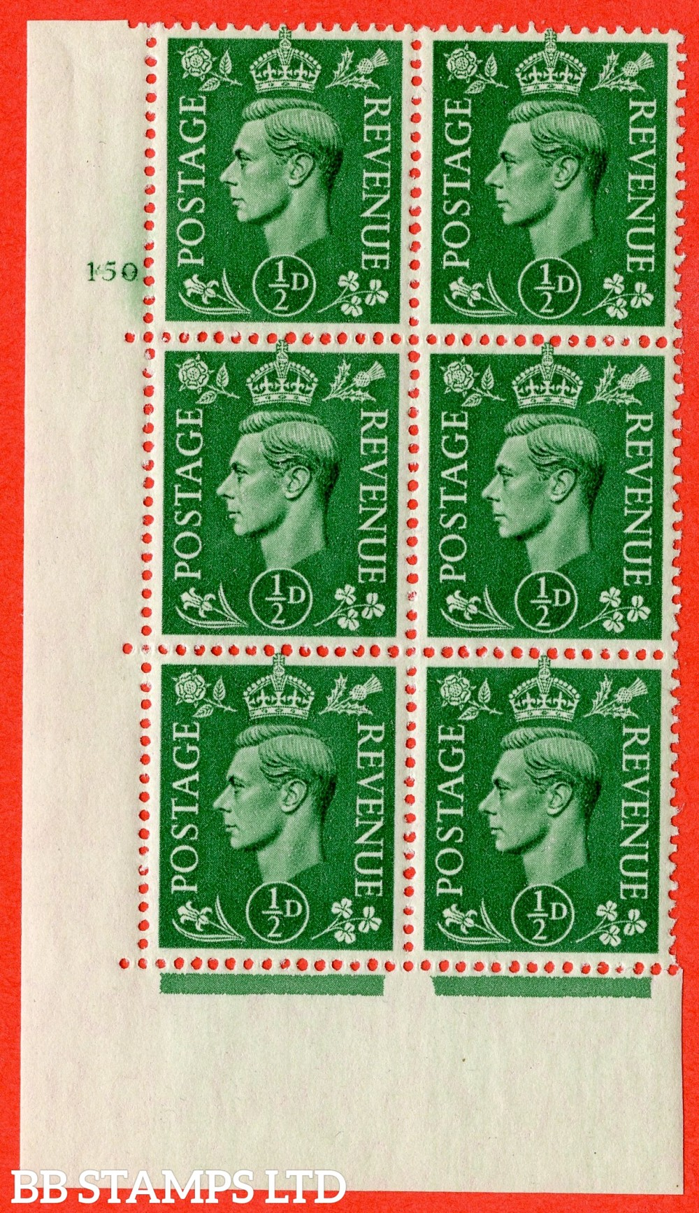"SG. 485. Q2. ½d Pale Green. A fine lightly mounted mint "" No Control cylinder 150 no dot "" block of 6 with perf type 5 E/I with marginal rule."