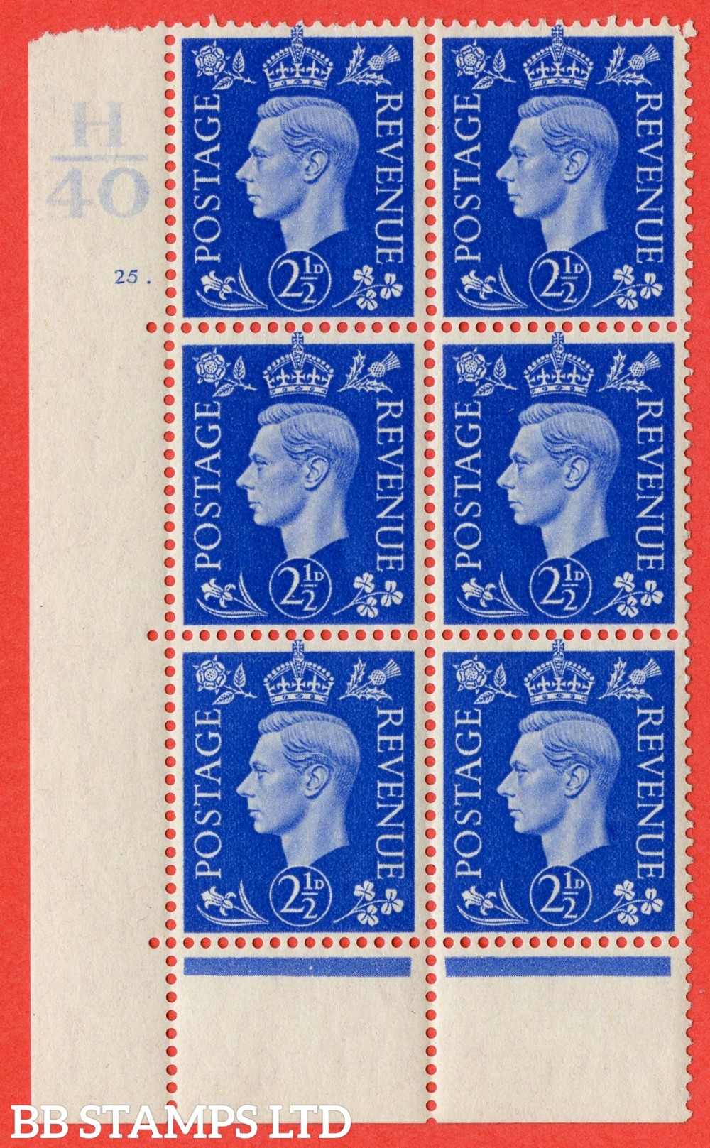 "SG. 466. Q13. 2½d Ultramarine. A fine lightly mounted mint "" Control H40 cylinder 25 dot "" control block of 6 with perf type 6B E/P."