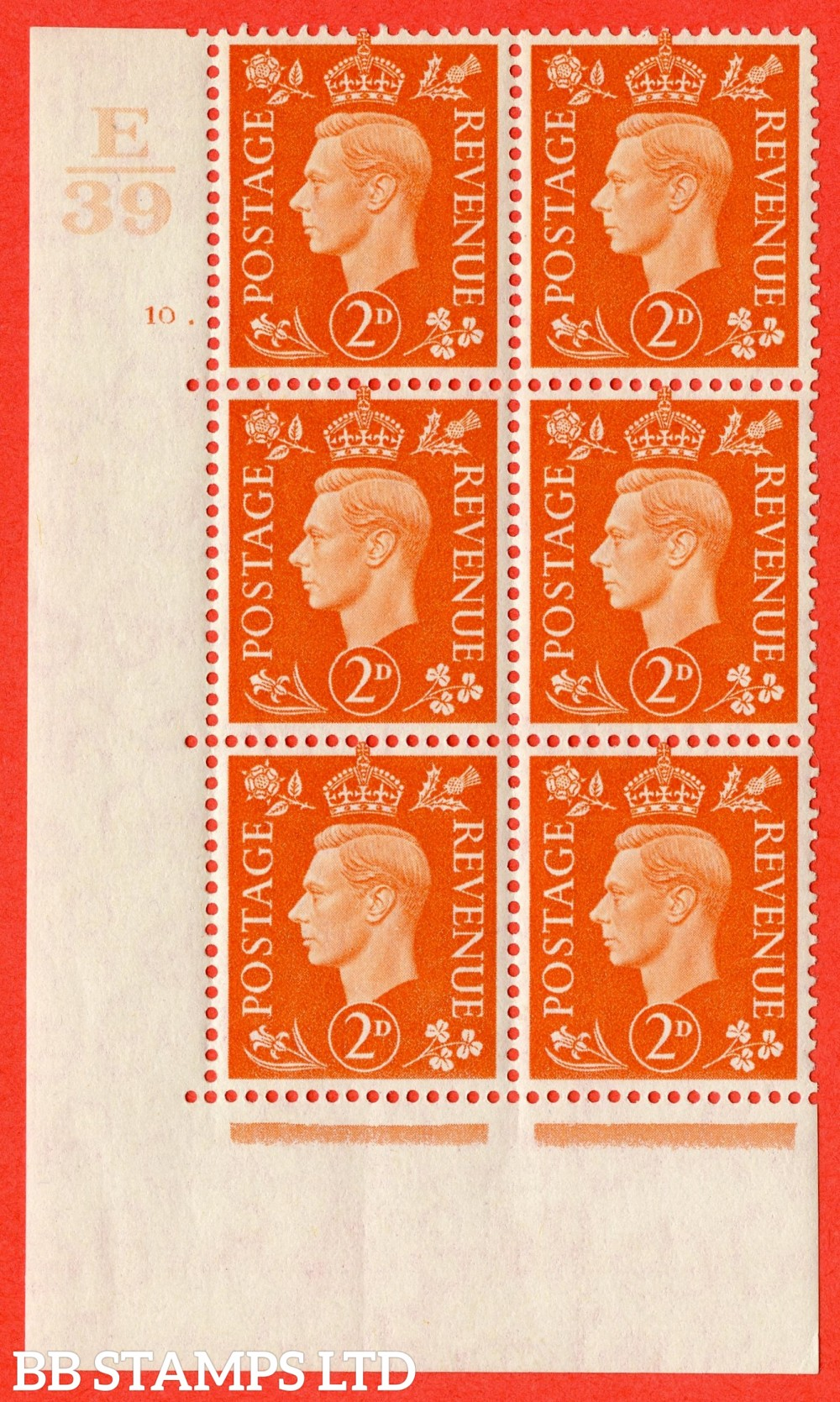 "SG. 465. Q10. 2d Orange. A superb UNMOUNTED MINT "" Control E39 cylinder 10 dot "" control block of 6 with perf type 5 E/I."