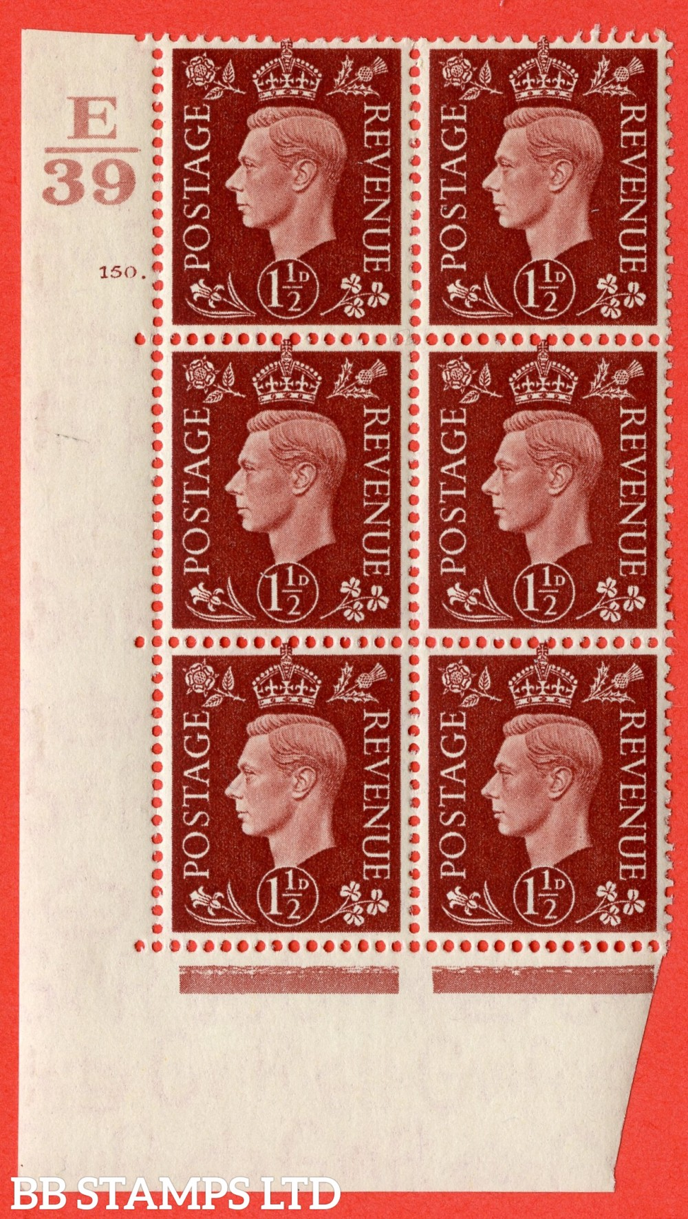 """SG. 464. Q7. 1½d Red-Brown. A fine lightly mounted mint  """" Control E39 cylinder 150 dot """" block of 6 with perf type 5 E/I."""