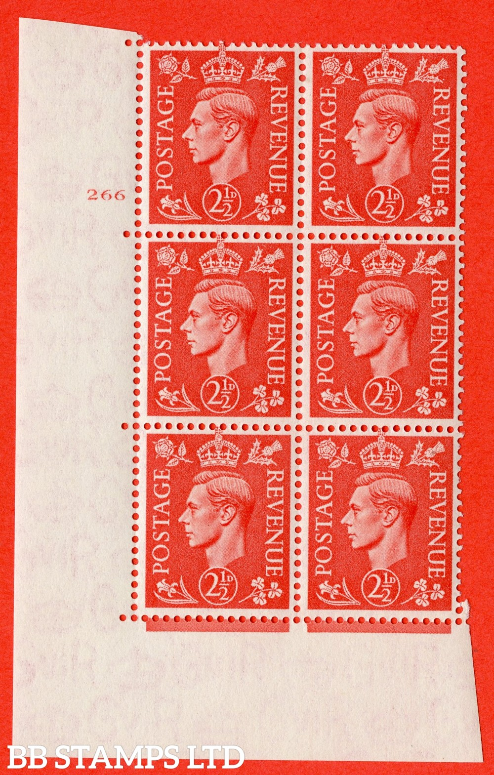 "SG. 507. Q15. 2½d Pale Scarlet. A superb UNMOUNTED MINT "" No Control cylinder 266 no dot "" control block of 6 with perf type 5 E/I."