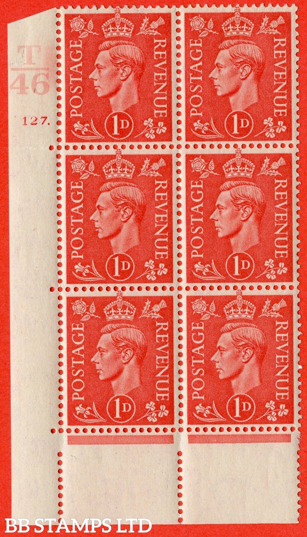 "SG. 486. Q5. 1d Pale scarlet. A superb UNMOUNTED MINT "" Control T46  cylinder 127 dot "" control block of 6 with perf type 5 E/I."