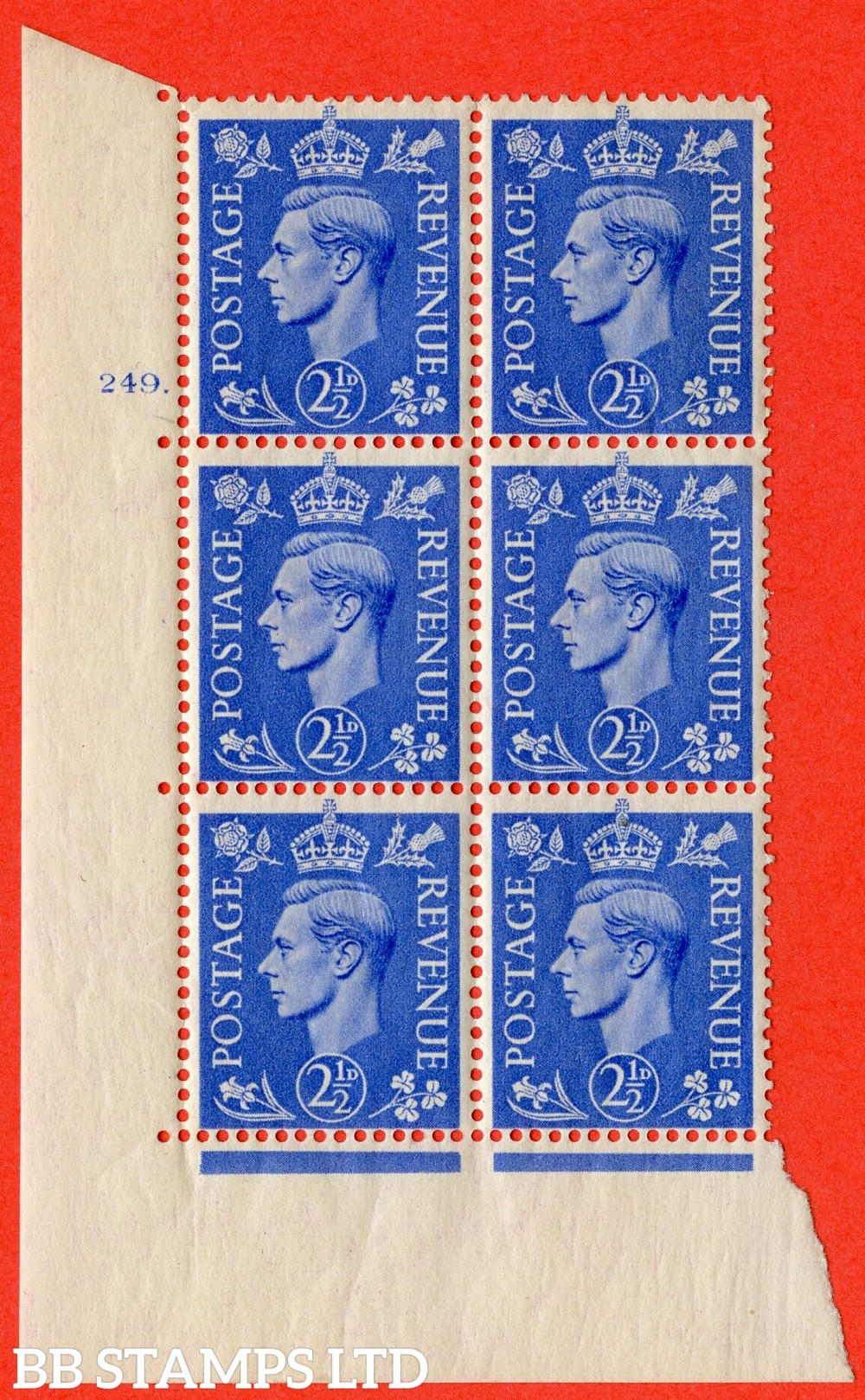 "SG. 489. Q14. 2½d Light ultramarine. A superb UNMOUNTED MINT "" No Control cylinder 249 no dot "" control block of 6 with perf type 5 E/I"