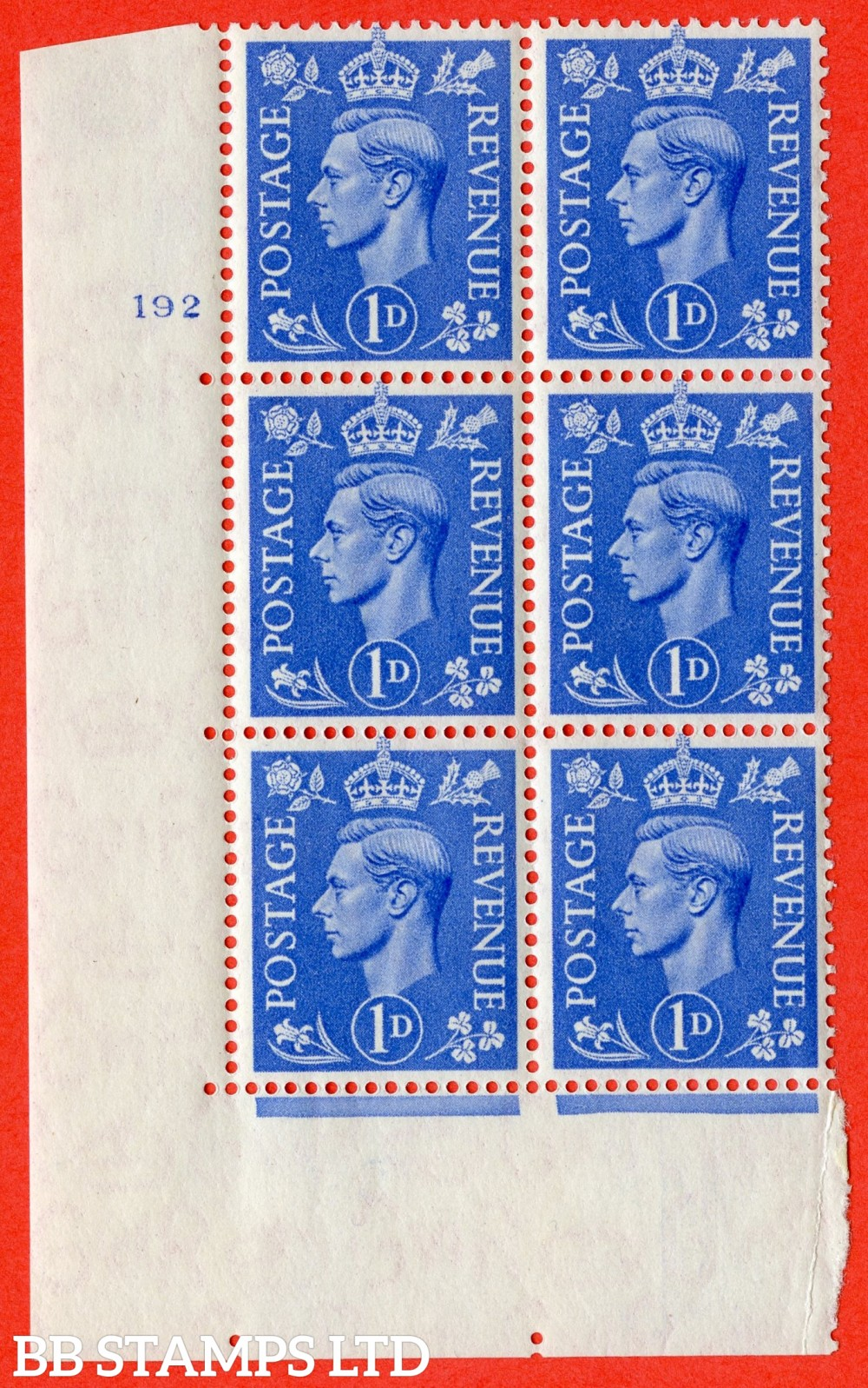 """SG. 504. Q6. 1d Light ultramarine. A superb UNMOUNTED MINT """" No Control cylinder 192 no dot """" control block of 6 with perf type 5 E/I"""