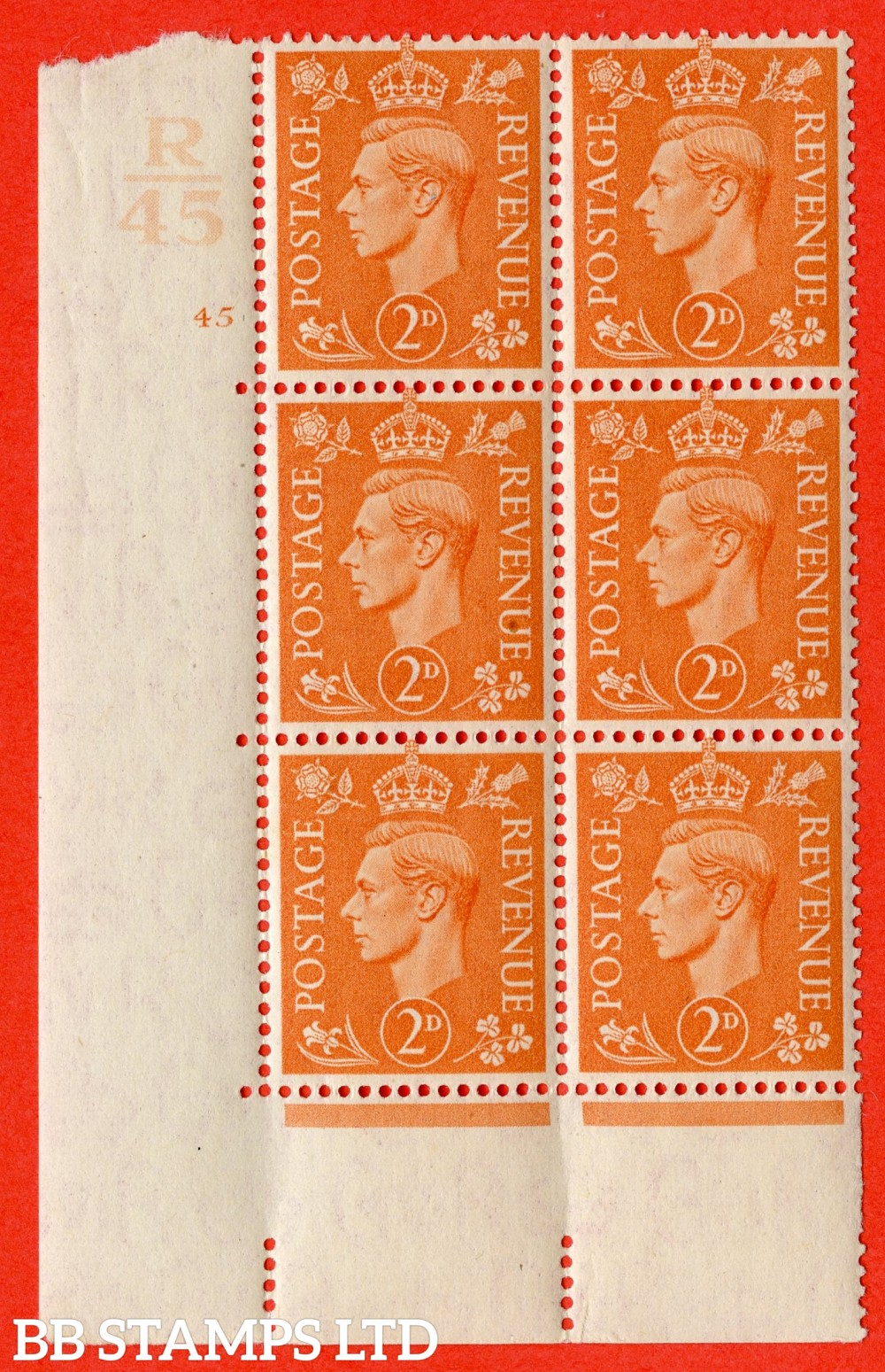 """SG. 488. Q11. 2d Pale Orange. A superb UNMOUNTED MINT """" Control U47 cylinder 45 no dot """" control block of 6 with perf type 5 E/I."""