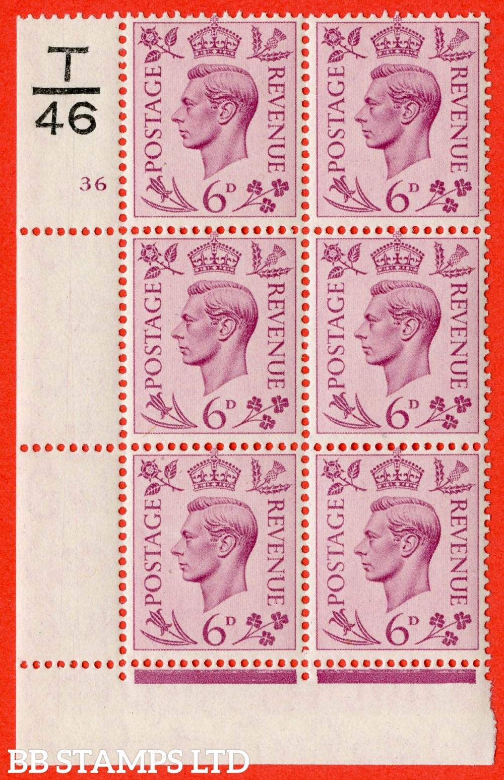 """SG. 470. Q22. 6d Purple. A superb UNMOUNTED MINT """" Control T46 cylinder 36 no dot """" control block of 6 with perf type 2 E/I with perf encroachment."""