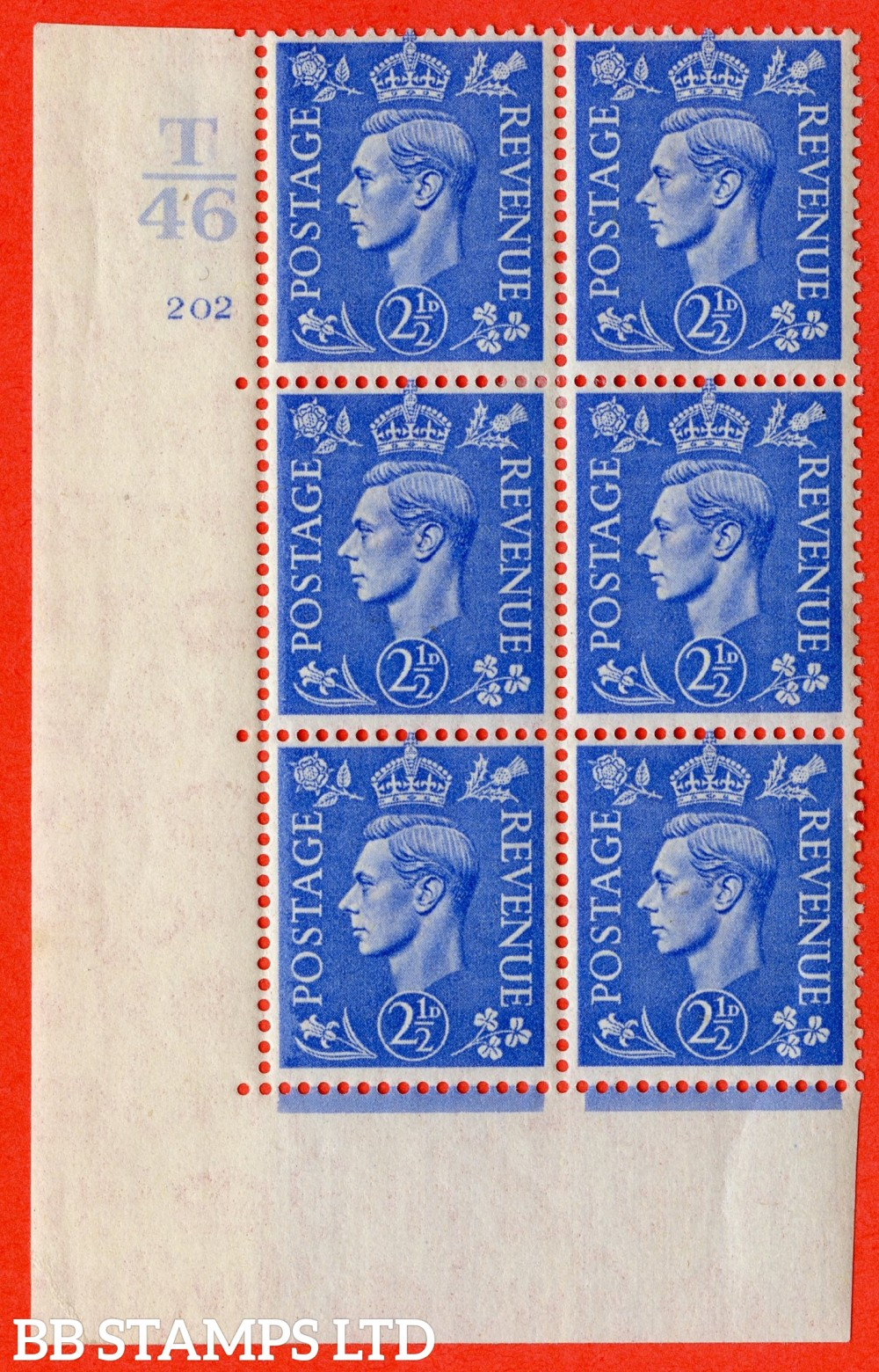 "SG. 489. Q14. 2½d Light ultramarine. A fine lightly mounted mint "" Control T46 cylinder 202 no dot "" control block of 6 with perf type 5 E/I."