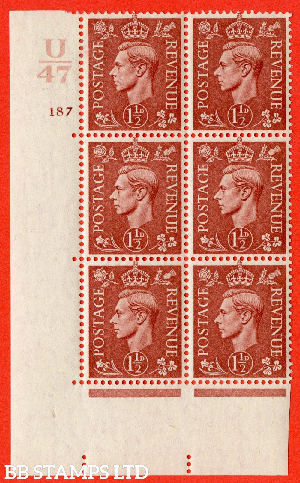 "SG. 487. Q8. 1½d Pale Red-Brown. A superb UNMOUNTED MINT "" Control U47 cylinder 187 dot "" control block of 6 with perf type 5 E/I."