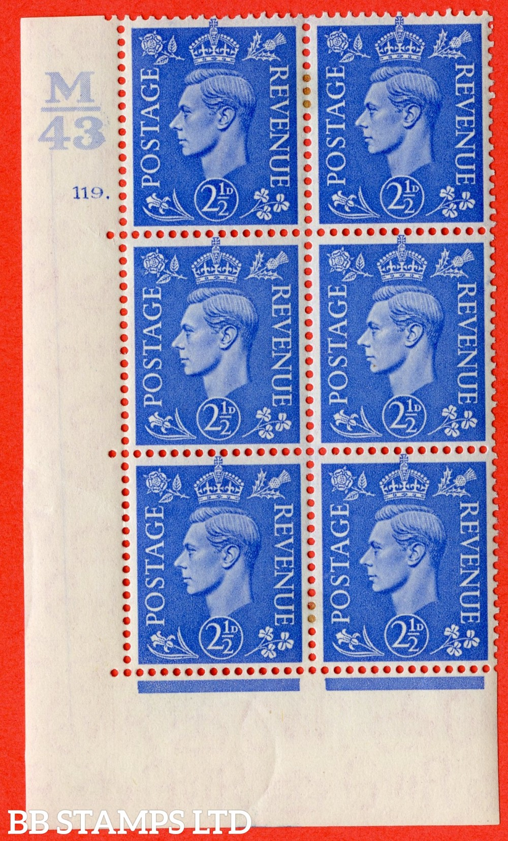 "SG. 489. Q14. 2½d Light ultramarine. A fine lightly mounted mint "" Control L42 cylinder 119 dot "" control block of 6 with perf type 5 E/I."
