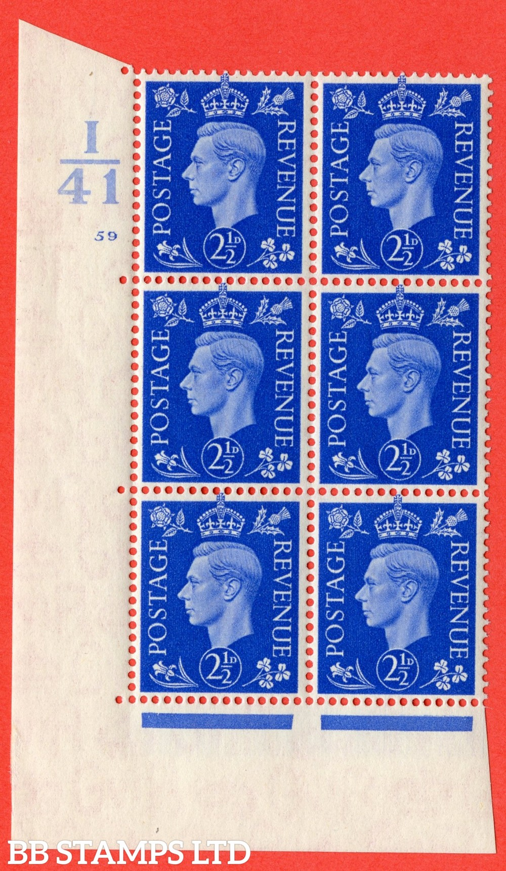 """SG. 466. d. Q13. 2½d Ultramarine.  A superb UNMOUNTED MINT """" Control I41 cylinder 59 no dot """" control block of 6 with perf type 5 E/I."""