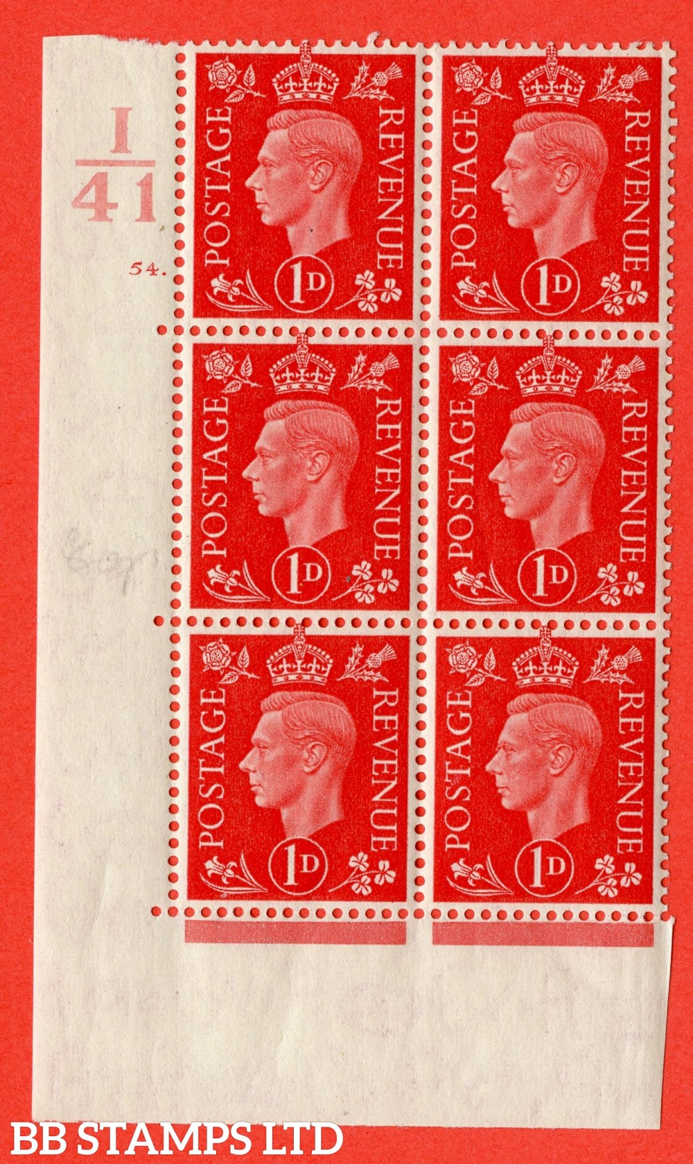 "SG. 463. Q4. 1d Scarlet. A superb UNMOUNTED MINT "" Control I41 cylinder 54 dot "" block of 6 with perf type 5 E/I with marginal rule."