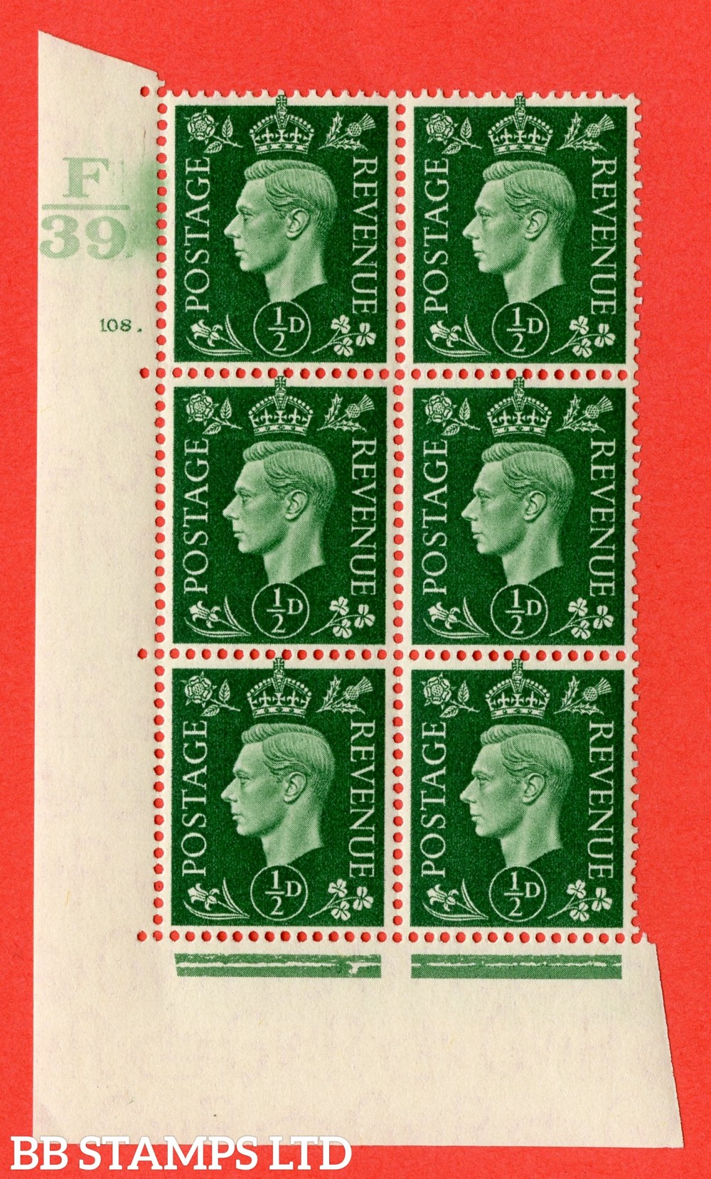 "SG. 462. Q1. ½d Green. A superb UNMOUNTED MINT "" Control F39 cylinder 108 dot "" block of 6 with perf type 5 E/I with marginal rule."