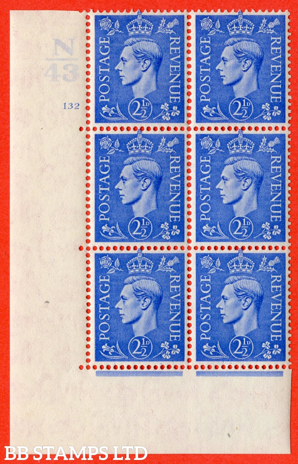 "SG. 489. Q14. 2½d Light ultramarine. A fine mounted mint "" Control N43 cylinder 132 no dot "" control block of 6 with perf type 5 E/I."