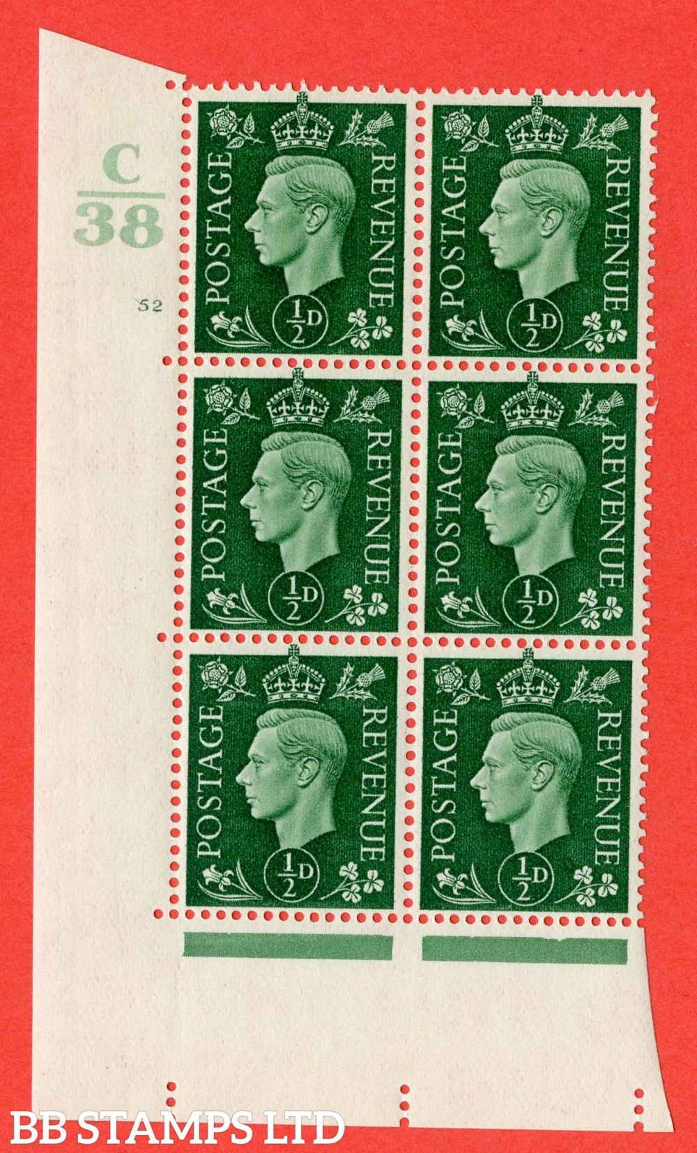 """SG. 462. Q1. ½d Green. A superb UNMOUNTED MINT """" Control C38 cylinder 52 no dot """" block of 6 with perf type 5 E/I with marginal rule."""
