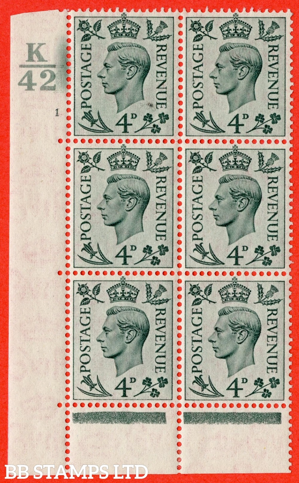 """SG. 468. Q19. 4d Grey-Green. A fine lightly mounted mint. """" Control K42.  Cylinder 1 no dot """" control block of 6 with perf type 6B E/P."""