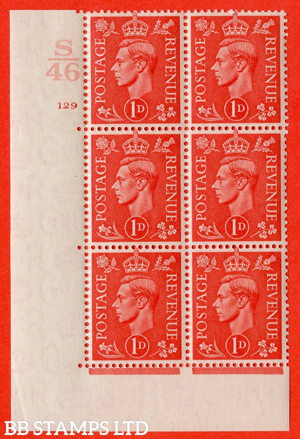 "SG. 486. Q5. 1d Pale scarlet. A superb UNMOUNTED MINT "" Control S46  cylinder 129 no dot "" control block of 6 with perf type 5 E/I."