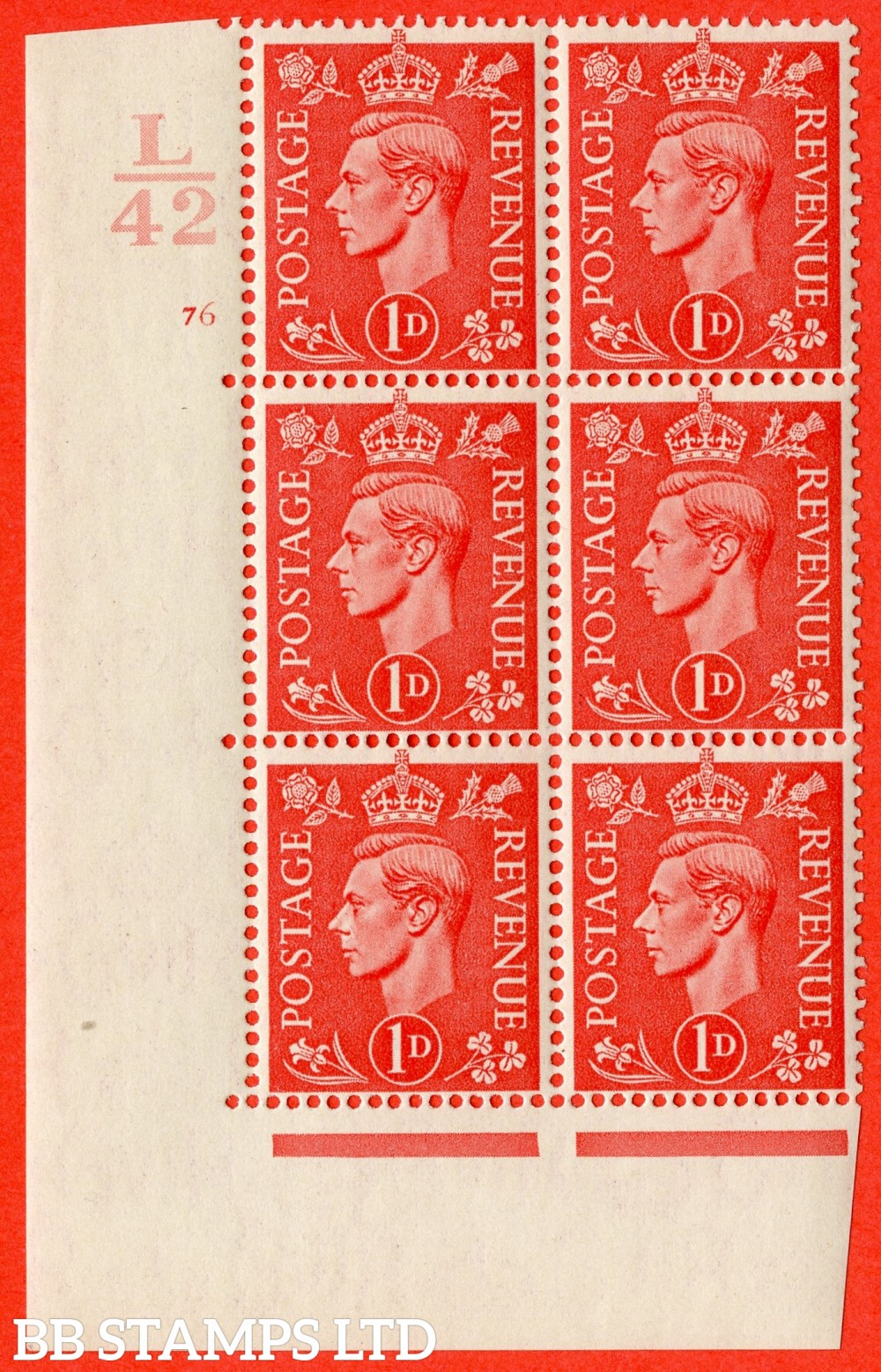 "SG. 486. Q5. 1d Pale scarlet. A superb UNMOUNTED MINT "" Control L42  cylinder 76 no dot "" control block of 6 with perf type 5 E/I."