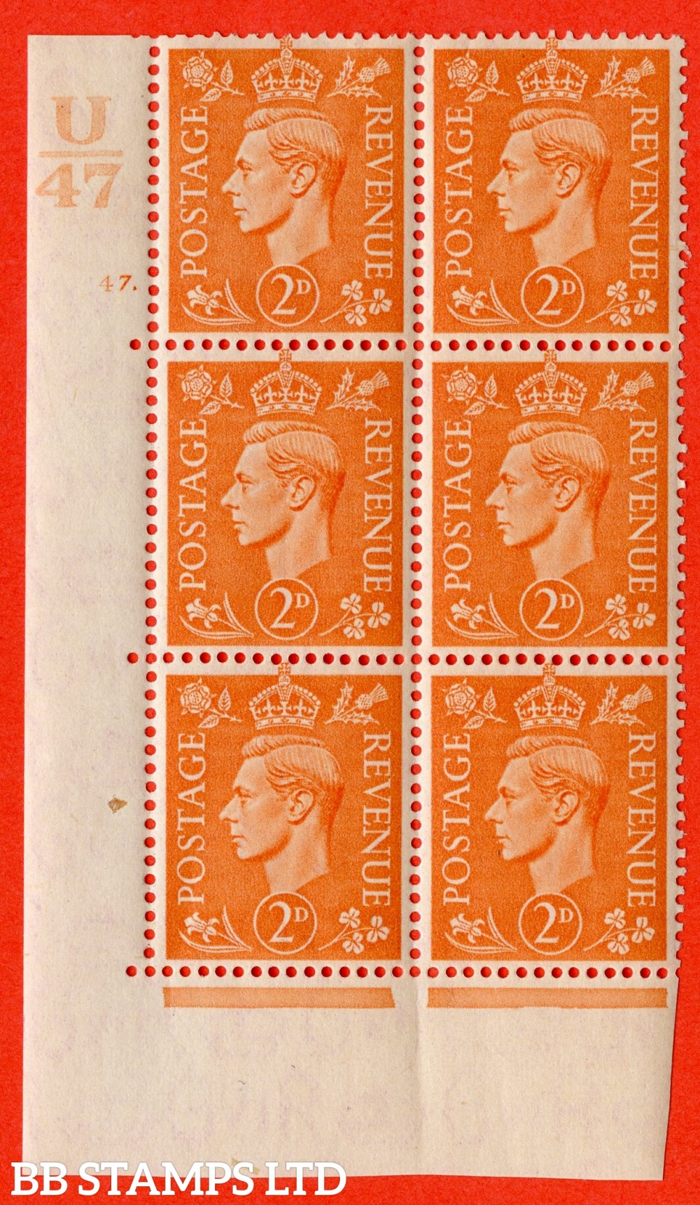 """SG. 488. Q11. 2d Pale Orange. A superb UNMOUNTED MINT """" Control U47 cylinder 47 dot """" control block of 6 with perf type 5 E/I."""