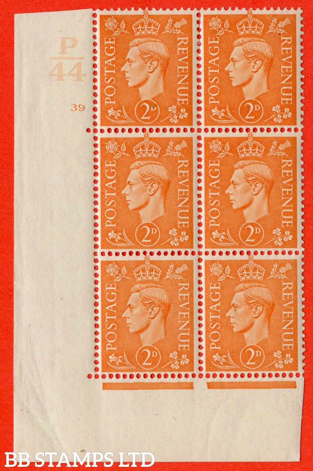 """SG. 488. Q11. 2d Pale Orange. A superb UNMOUNTED MINT """" Control P44 cylinder 39 no dot """" control block of 6 with perf type 5AE AE/I."""