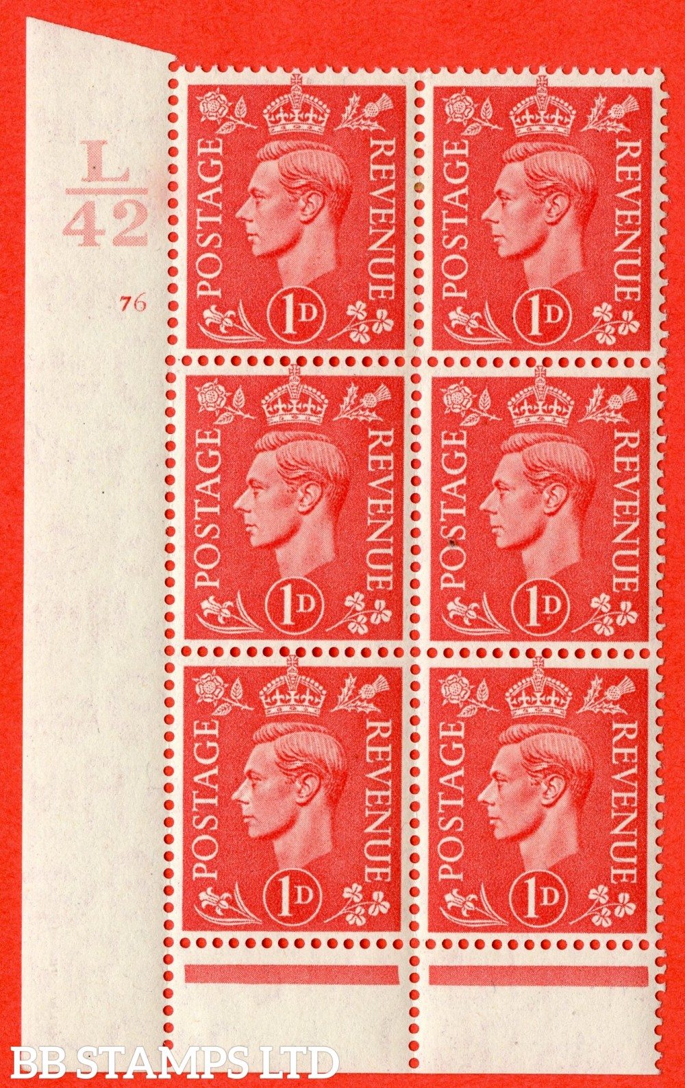 "SG. 486. Q5. 1d Pale scarlet. A fine lightly mounted mint "" Control L42  cylinder 76 no dot "" control block of 6 with perf type 6 I/P."