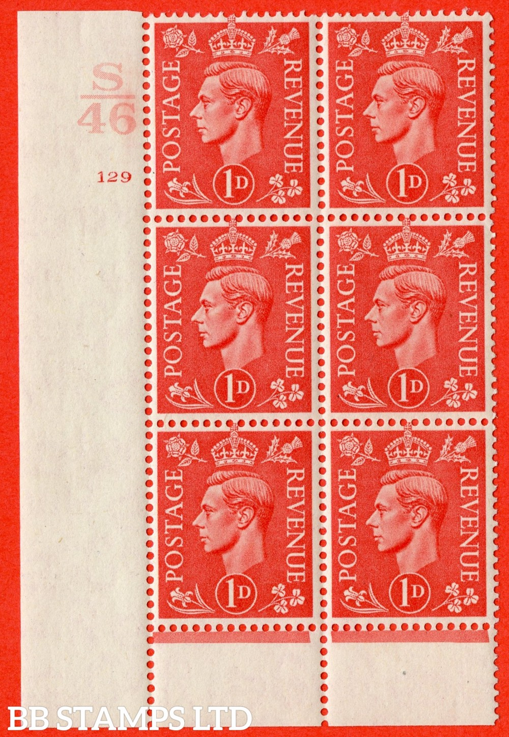 "SG. 486. Q5. 1d Pale scarlet. A superb UNMOUNTED MINT "" Control S46  cylinder 129 no dot "" control block of 6 with perf type 6 I/P."