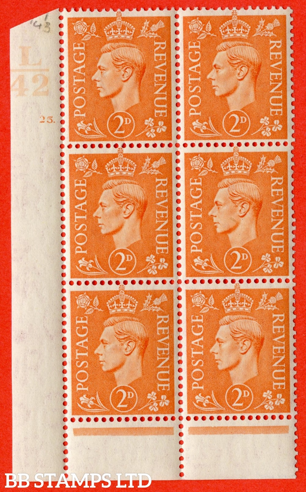 """SG. 488. Q11. 2d Pale Orange. A superb UNMOUNTED MINT """" Control L42 cylinder 25 dot """" control block of 6 with perf type 6 I/P."""
