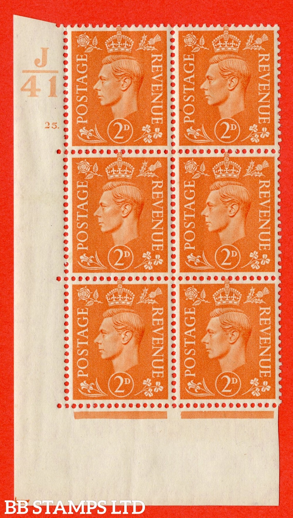 "SG. 488. Q11. 2d Pale Orange. A superb UNMOUNTED MINT "" Control J41 cylinder 25 dot "" control block of 6 with perf type 5 E/I."