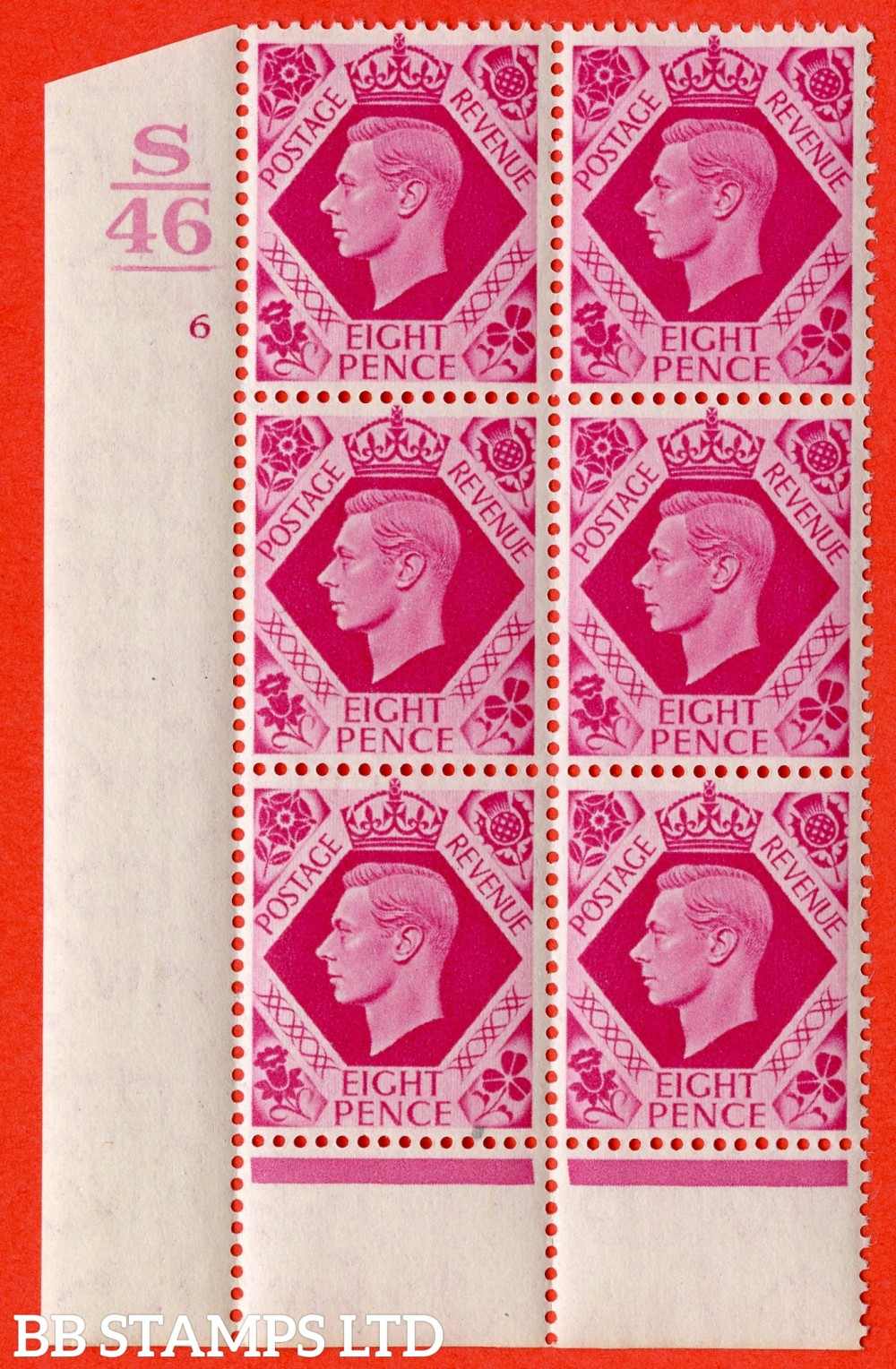 "SG. 472. Q24. b. 8d Carmine. A Superb UNMOUNTED MINT "" Control S46. 1 Bar. Cylinder 6 no dot "" control block of 6 with perf type 6 I/P. with listed variety "" Hole in leaf "" R20/1."