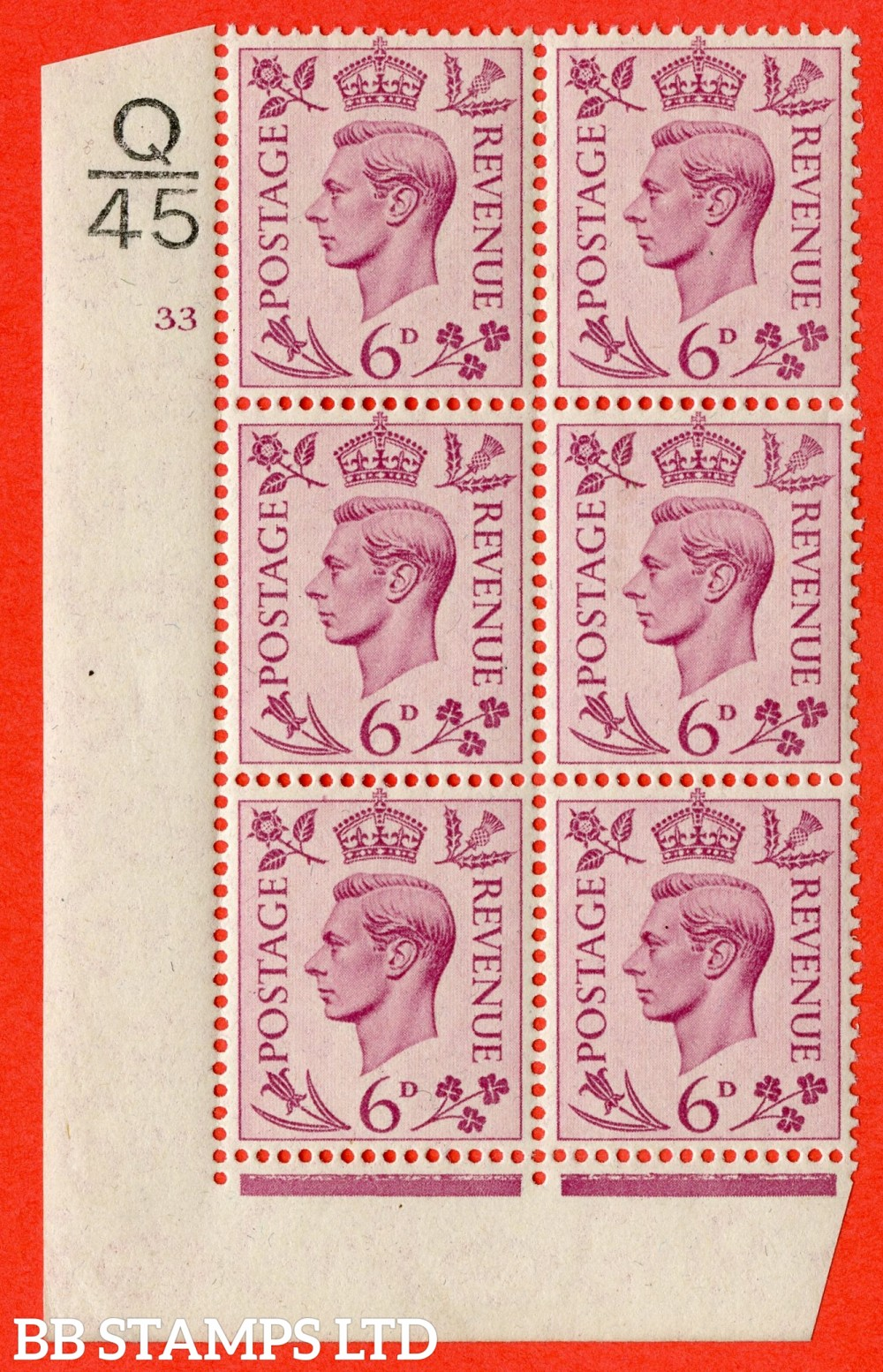 """SG. 470. Q22. 6d Purple. A fijne lightly mounted mint """" Control Q45 cylinder 33 no dot """" control block of 6 with perf type 2 E/I."""