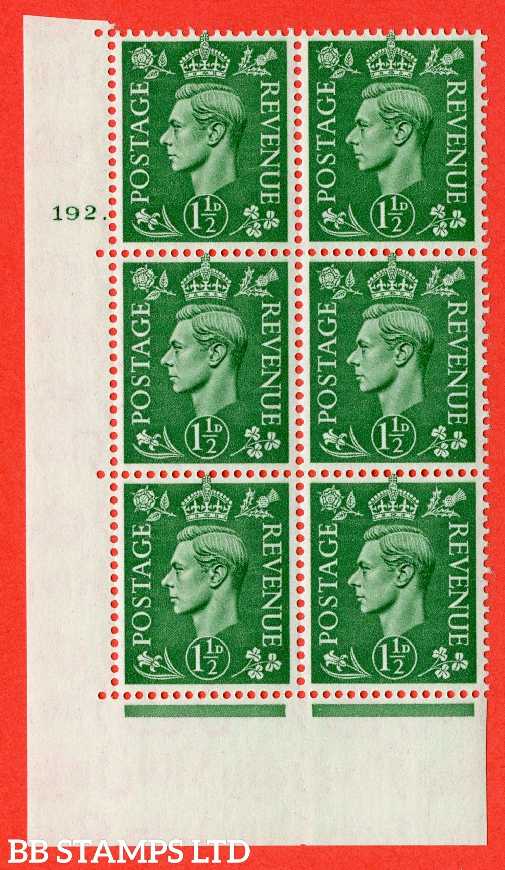 "SG. 505. Q9. 1½d Pale Green. A superb UNMOUNTED MINT "" No Control cylinder 192 dot "" control block of 6 with perf type 5 E/I."