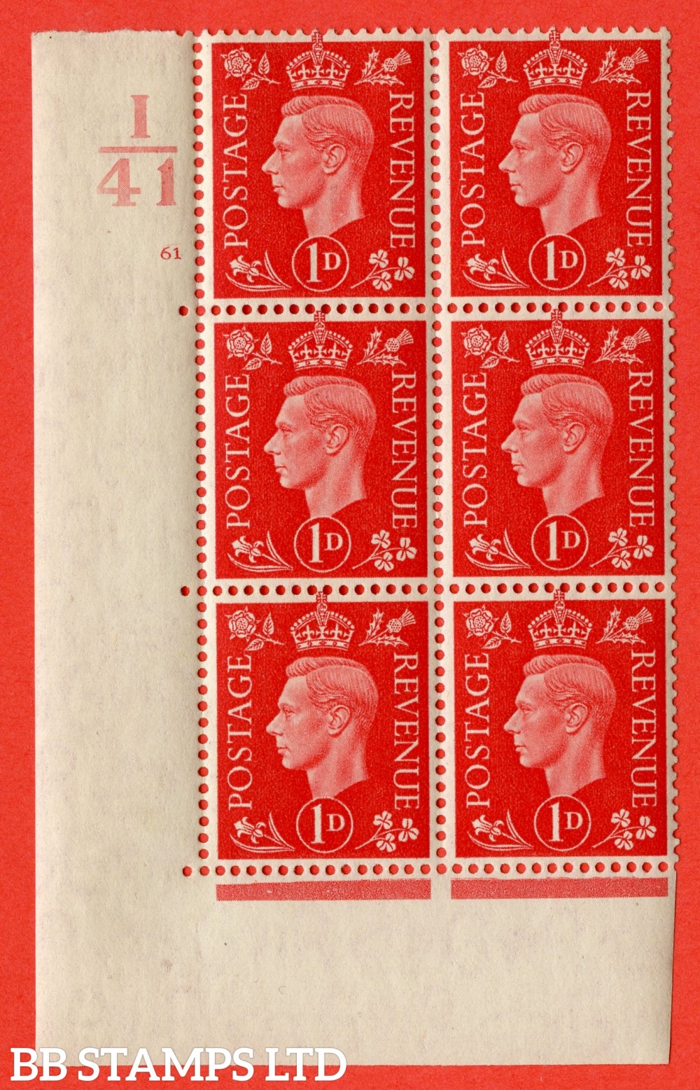 "SG. 463. Q4. 1d Scarlet. A very fine lightly mounted mint "" Control I41 cylinder 61 no dot "" block of 6 with perf type 5 E/I with marginal rule."