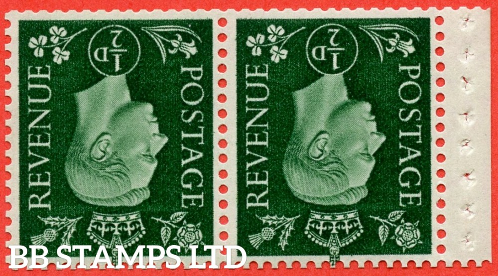 SG. 462 cw. QB3 a. ½d green. INVERTED WATERMARK. A fine UNMOUNTED MINT booklet pane of 2. Perf type P. Complete with RPS certificate.