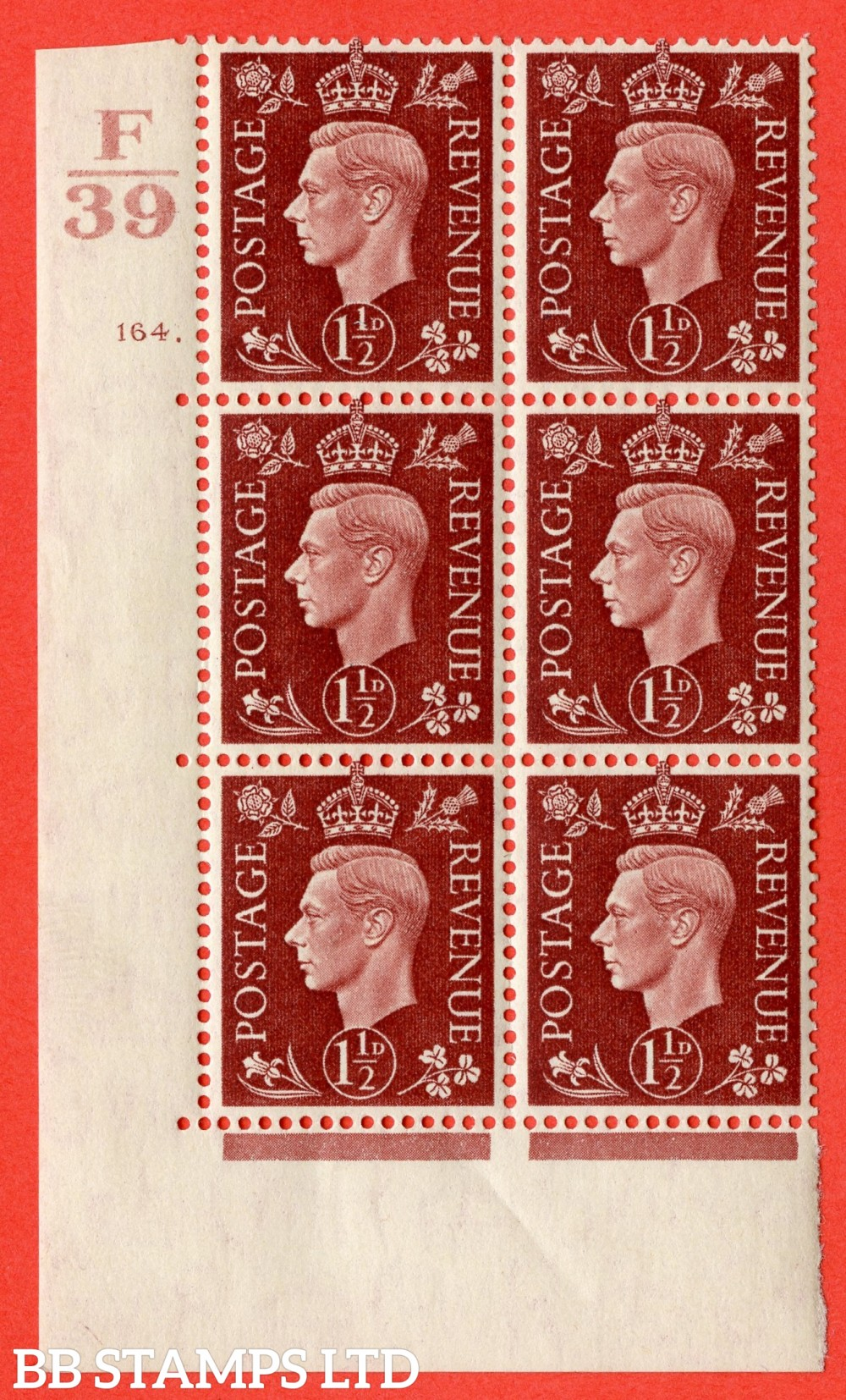 """SG. 464. Q7. 1½d Red-Brown. A fine lightly mounted mint  """" Control F39 cylinder 164 dot """" block of 6 with perf type 5 E/I."""