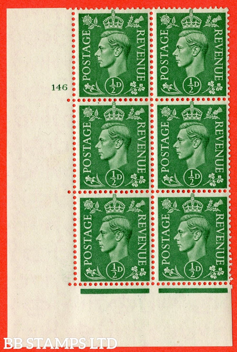 "SG. 485. Q2. ½d Pale Green. A fine lightly mounted mint "" No Control cylinder 146 no dot "" block of 6 with perf type 5 E/I with marginal rule."