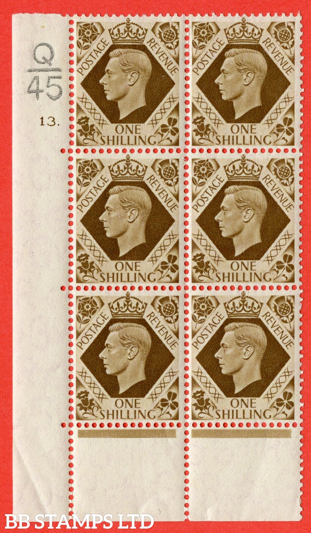 "SG. 475. Q28. 1/- Bistre-Brown. A fine lightly mounted mint "" Control  Q45 cylinder 13 dot "" control block of 6 with perf type 6B E/P"